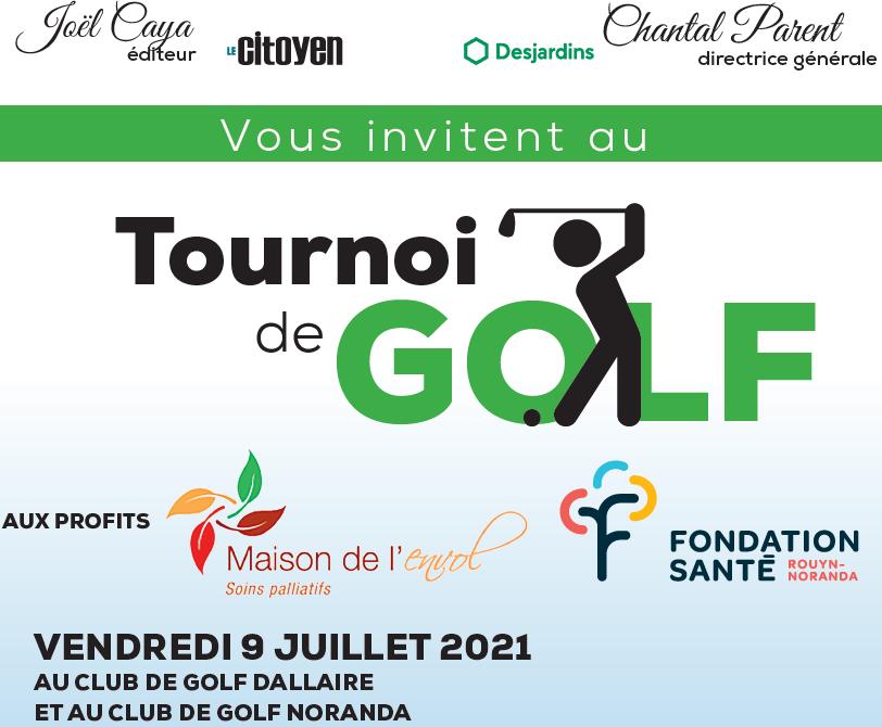 La Maison de l'envol et la Fondation Santé de Rouyn-Noranda s'associent afin de présenter leur tournoi de golf 2021 !!!